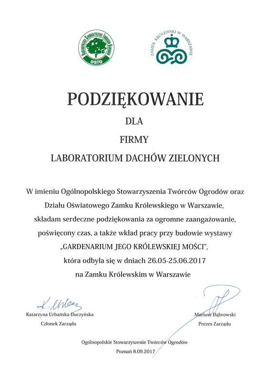 Podziękowania OSTO - 2017