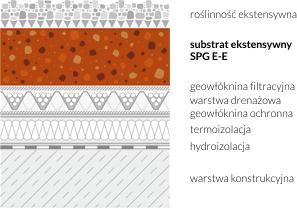 Schemat zastosowania substratu ekstensywnego SPG E-E na dachu zielonym