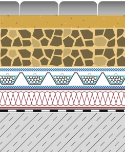 Rozwiązania systemowe - dachy intensywne - WE 40-I - chodnik i droga na dachu