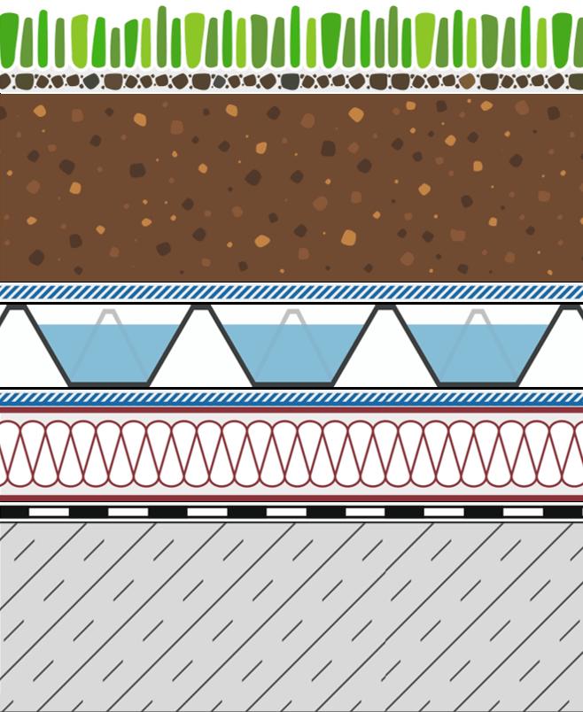 Rozwiązania systemowe - dachy intensywne - WE 60-I - woda na dachu